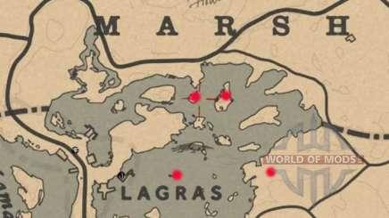 Mapa del tesoro del pantano de Blackwater en Red Dead Online