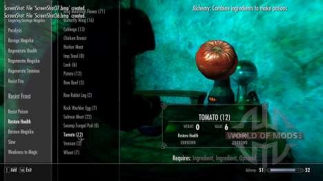 Alquimia de comida cruda para el tercer Skyrim pantalla