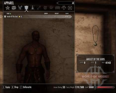 Amuleto de los dioses para el tercer Skyrim pantalla