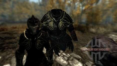 Negro y oro-los elfos de la armadura para Skyrim quinta pantalla