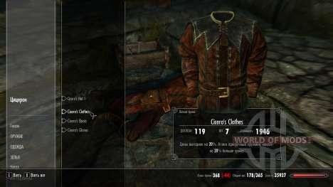 Ropa de protección Cicerón para Skyrim segunda pantalla