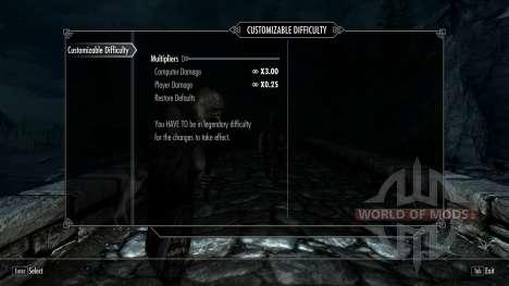 Customizable Difficulty para Skyrim