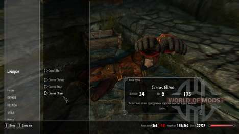 Ropa de protección Cicerón para el cuarto Skyrim pantalla