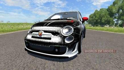 Fiat 500 Abarth White and Black para BeamNG Drive