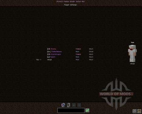 Female Gender Option [1.7.2] para Minecraft