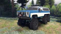 Chevrolet K5 Blazer 1975 Equipped blue and white para Spin Tires