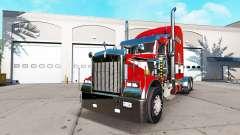 La piel de color Rojo en el camión Kenworth W900 para American Truck Simulator