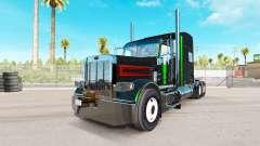 La piel es de color Negro Metálico Rayas en el Peterbilt tractor para American Truck Simulator
