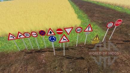 Warning Traffic Signs v1.1 para Farming Simulator 2015