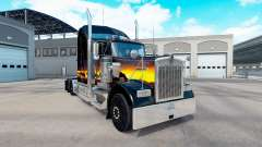 La piel de la puesta de sol en el camión Kenworth W900 para American Truck Simulator