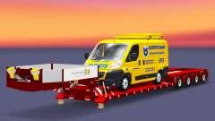 Bajo la cama de arrastre de la Muñeca con una camioneta de carga para Euro Truck Simulator 2
