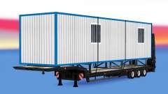 Baja barrido con un tráiler de construcción para American Truck Simulator