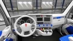 El interior es de color Blanco y Azul para Kenworth T680 para American Truck Simulator