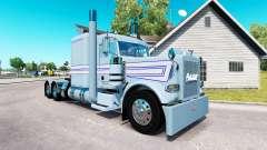 Piel blanco-Azul de las franjas por el camión Peterbilt 389 para American Truck Simulator