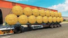 El semirremolque de plataforma con una carga de la ronda de balas para Euro Truck Simulator 2