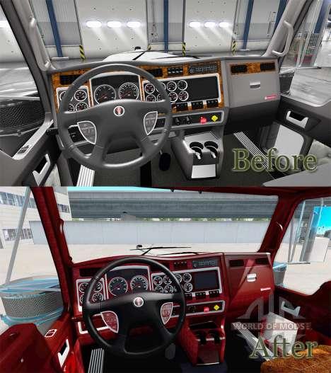 El interior de la v1.1 para Kenworth W900 para American Truck Simulator