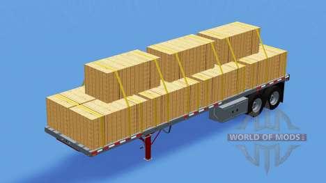 Dos ejes con semi-remolque de plataforma para American Truck Simulator