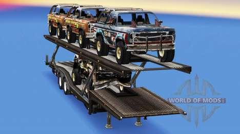 Camión de transporte de coches con los coches de para American Truck Simulator