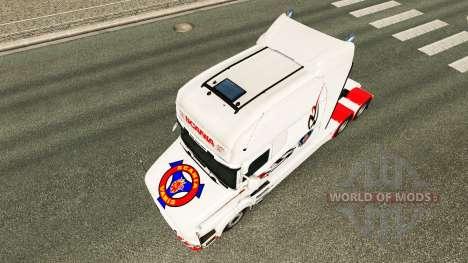 La piel blanca de camiones Scania T para Euro Truck Simulator 2