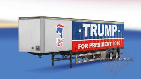 La piel Trump 2016 en una cortina semi-remolque para American Truck Simulator