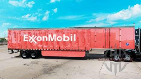 La piel de ExxonMobil en una cortina semi-remolq para American Truck Simulator