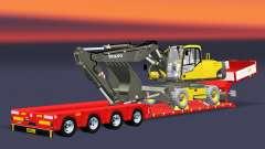 Bajo la cama de arrastre de la Muñeca Vario con excavadora Volvo para Euro Truck Simulator 2