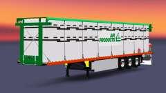 El semirremolque de plataforma con una carga de cilindros para Euro Truck Simulator 2