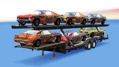 Camión de transporte de coches con los coches de FlatOut para American Truck Simulator