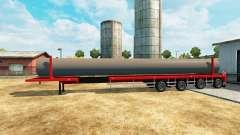Semi-remolque con una capacidad de carga de las tuberías de agua para Euro Truck Simulator 2