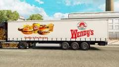 Wendys de la piel en el trailer de la cortina para Euro Truck Simulator 2