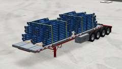 De cuatro ejes con semi-remolque de la plataforma con la carga para American Truck Simulator