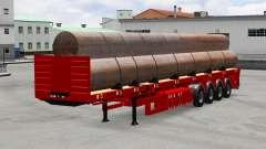 El semirremolque de plataforma con tubos de
