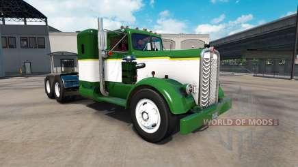 La piel Verde Y Blanco tractocamión Kenworth 521 para American Truck Simulator