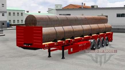 El semirremolque de plataforma con tubos de para American Truck Simulator