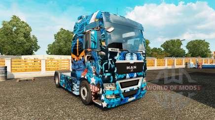 La piel de Héroes de Marvel en el camión MAN para Euro Truck Simulator 2