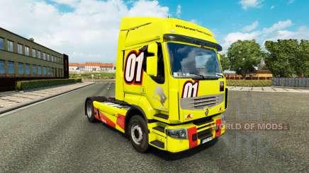 Racing Amarillo de la piel para Renault Premium camión para Euro Truck Simulator 2