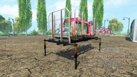 Una plataforma de madera con manipulador para Farming Simulator 2015