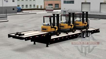 Bajo marco de arrastre con una carga de carretillas elevadoras para American Truck Simulator