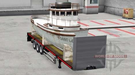 La semi-plataforma con la carga para American Truck Simulator
