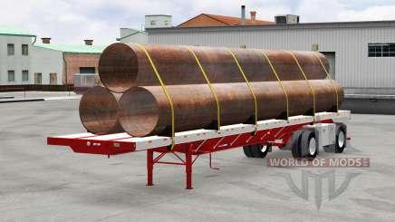 El semirremolque de plataforma de Gran Danés con cargas v5.0 para American Truck Simulator