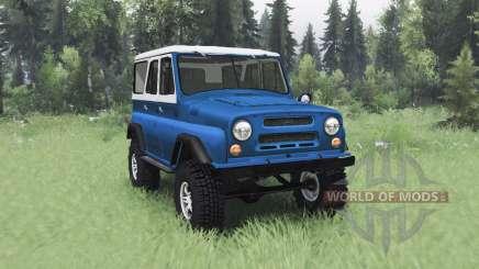 UAZ 469 azul blanco para Spin Tires