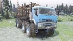 KamAZ biela el color azul brillante para Spin Tires