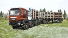 MAN TGS 41.480 8x8 dark pastel red para MudRunner