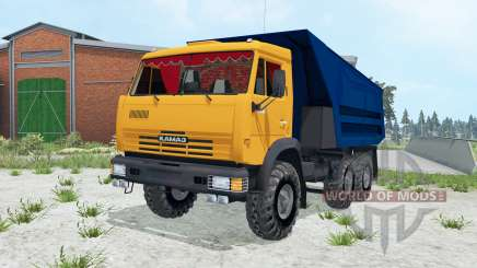 KamAZ 55111 de color naranja brillante Okas para Farming Simulator 2015