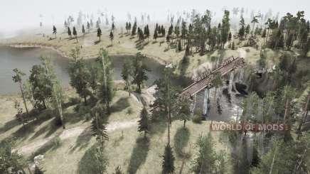 Corte hacia abajo en las líneas de energía en el Oso woods v1.2 para MudRunner