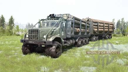 El KrAZ-255B 8x8 gris oscuro-color verde para MudRunner
