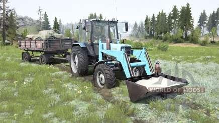 MTZ-82.1 Belarús suave de color azul para MudRunner