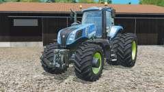 New Holland T8.320 con doble trasero dinámico wheelᵴ para Farming Simulator 2015