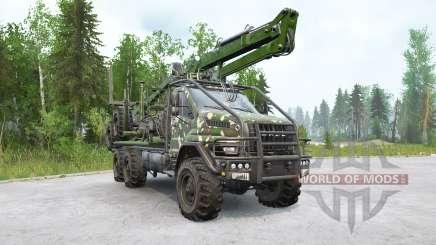 Ural Next (4320-74E5) camión de madera con manipulador para MudRunner